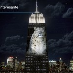 The Empire State Building illuminated with animals in danger of extinction